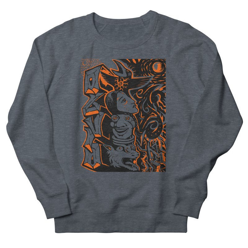 TOTEM ORANGE Men's French Terry Sweatshirt by truthpup's Artist Shop