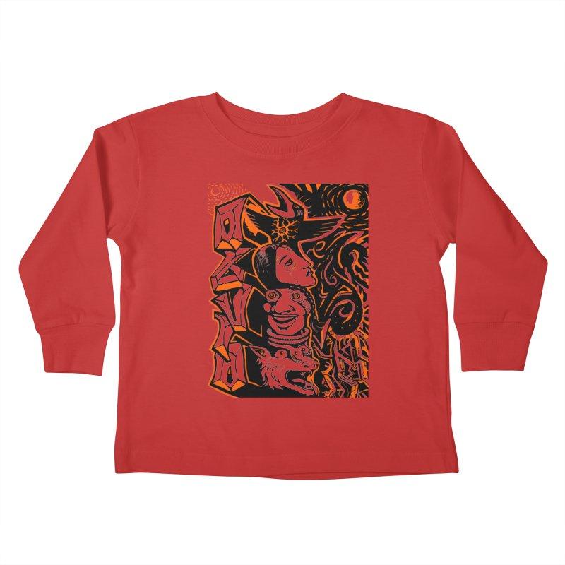 TOTEM ORANGE Kids Toddler Longsleeve T-Shirt by truthpup's Artist Shop