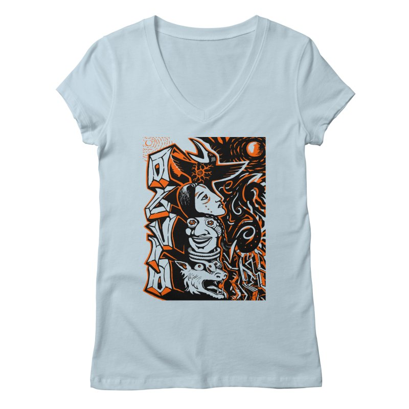 TOTEM ORANGE Women's Regular V-Neck by truthpup's Artist Shop