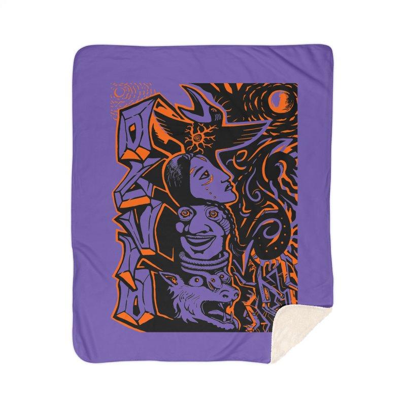 TOTEM ORANGE Home Sherpa Blanket Blanket by truthpup's Artist Shop