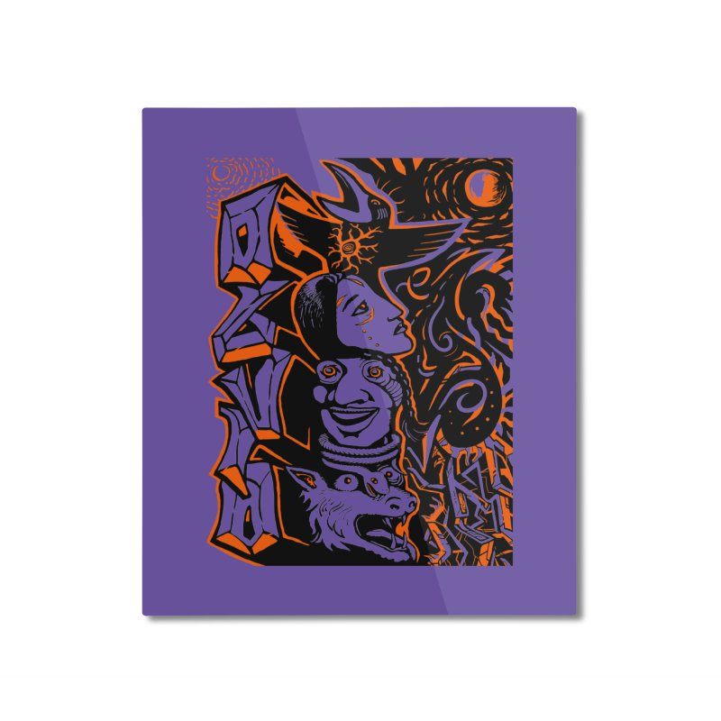 TOTEM ORANGE Home Mounted Aluminum Print by truthpup's Artist Shop