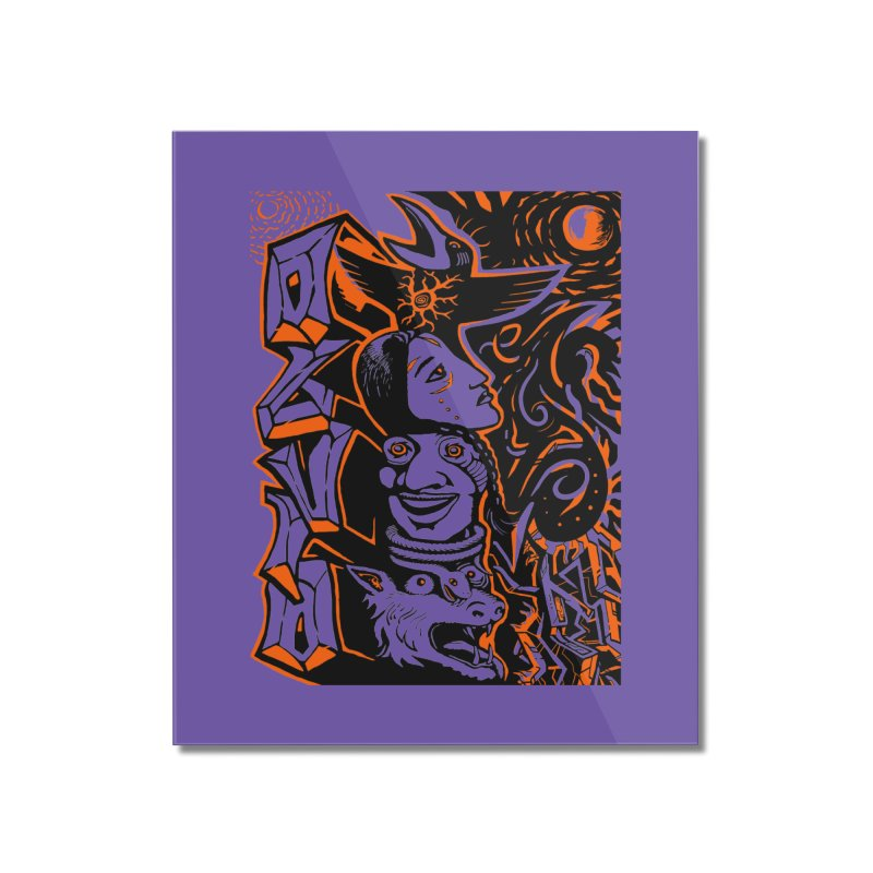 TOTEM ORANGE Home Mounted Acrylic Print by truthpup's Artist Shop