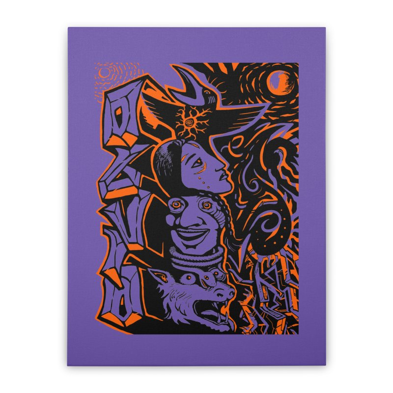TOTEM ORANGE Home Stretched Canvas by truthpup's Artist Shop