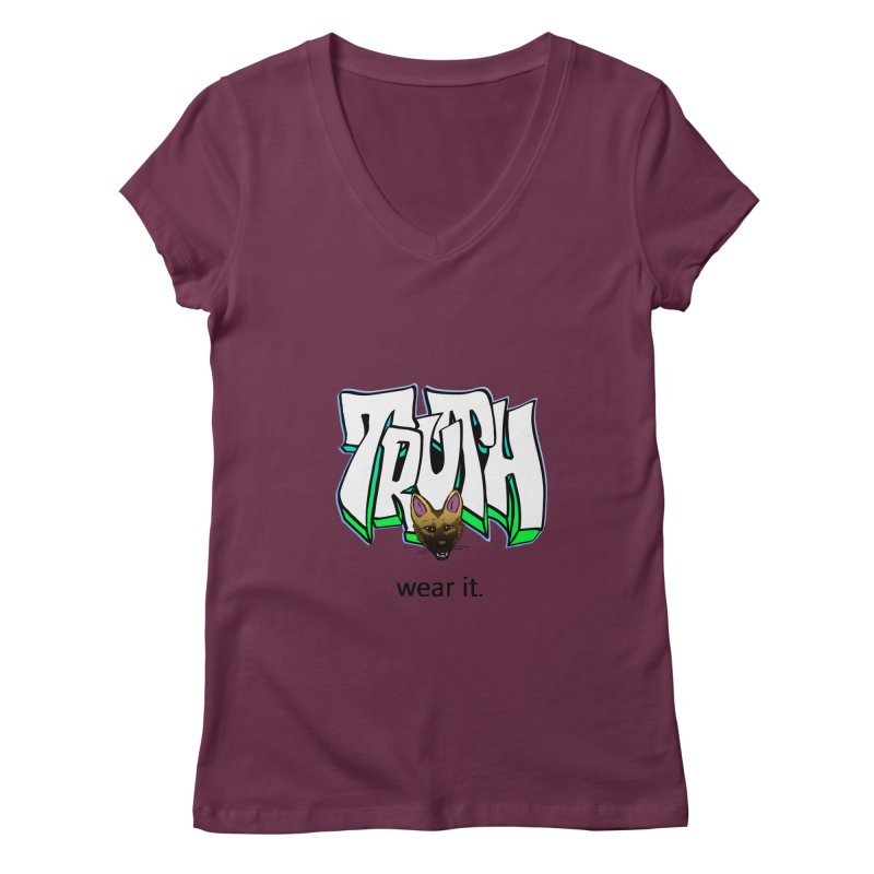 Truth and pup Women's Regular V-Neck by truthpup's Artist Shop