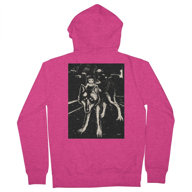 wolf rider Women's French Terry Zip-Up Hoody by truthpup's Artist Shop