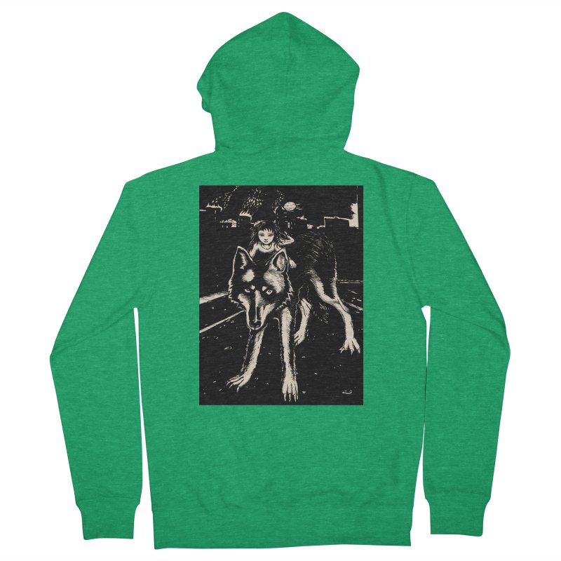 wolf rider Men's French Terry Zip-Up Hoody by truthpup's Artist Shop