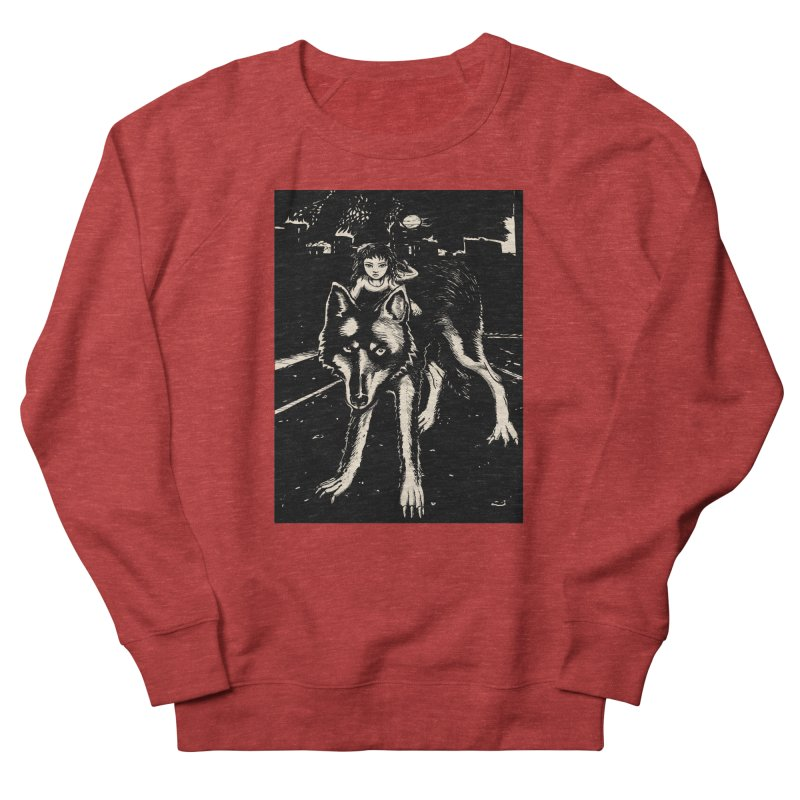 wolf rider Men's French Terry Sweatshirt by truthpup's Artist Shop