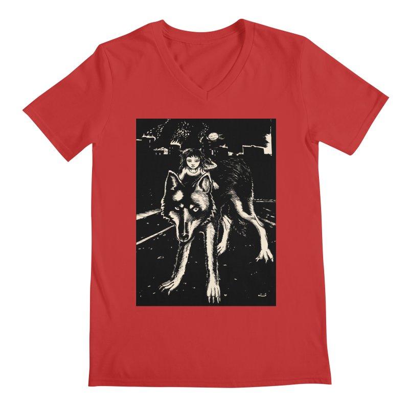 wolf rider Men's V-Neck by truthpup's Artist Shop