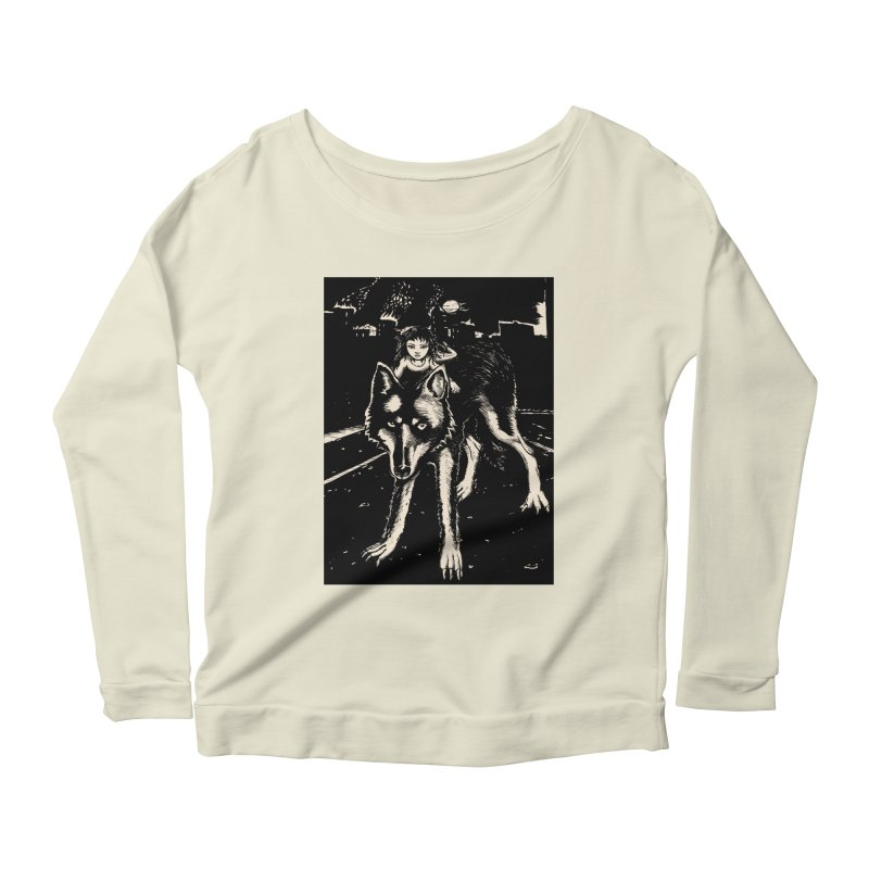 wolf rider Women's Scoop Neck Longsleeve T-Shirt by truthpup's Artist Shop