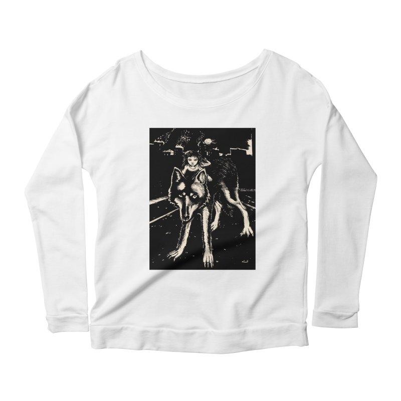 wolf rider Women's Scoop Neck Longsleeve T-Shirt by truthpup's Artist Shop