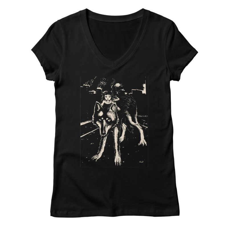 wolf rider Women's V-Neck by truthpup's Artist Shop