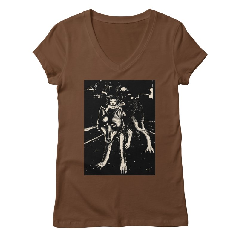 wolf rider Women's V-Neck by truthpup's Artist Shop