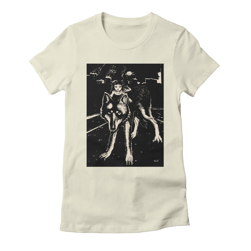 wolf rider Women's Fitted T-Shirt by truthpup's Artist Shop