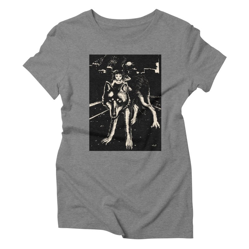 wolf rider Women's Triblend T-Shirt by truthpup's Artist Shop