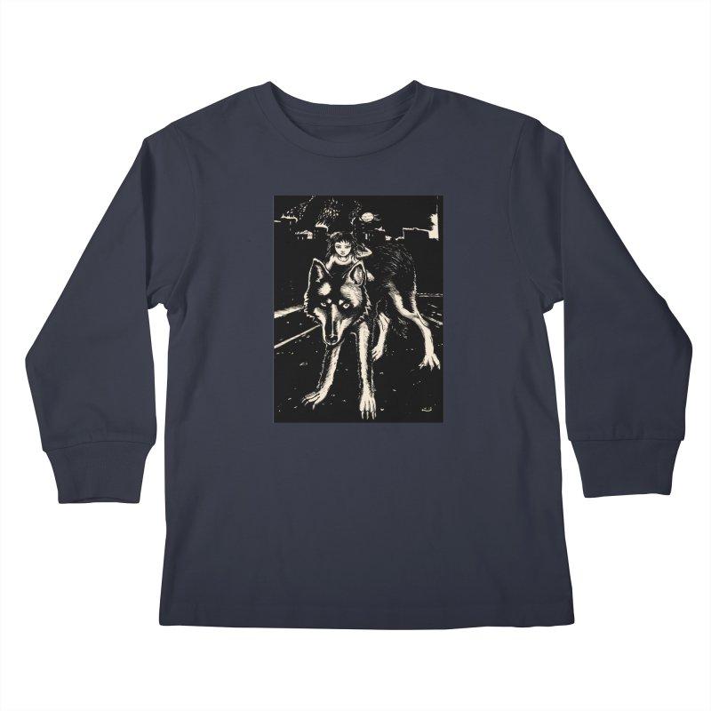 wolf rider Kids Longsleeve T-Shirt by truthpup's Artist Shop