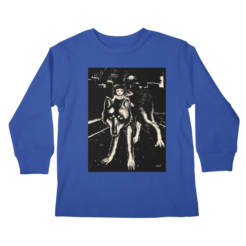 wolf rider Kids Longsleeve T-Shirt by truthpup's Artist Shop