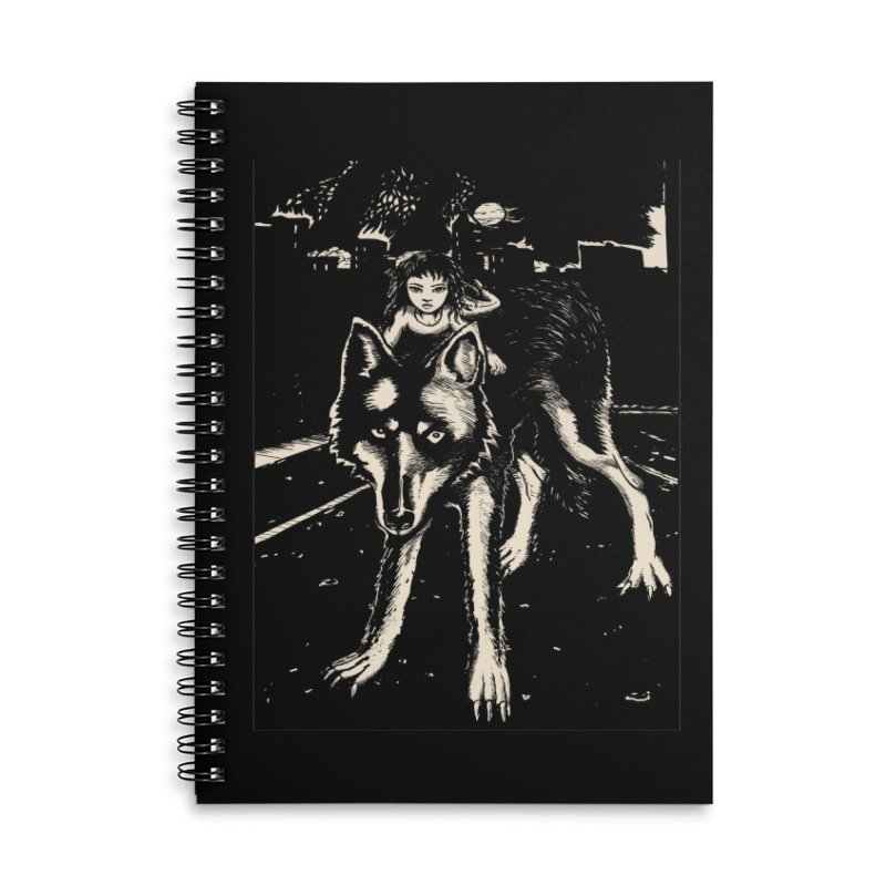 wolf rider Accessories Lined Spiral Notebook by truthpup's Artist Shop