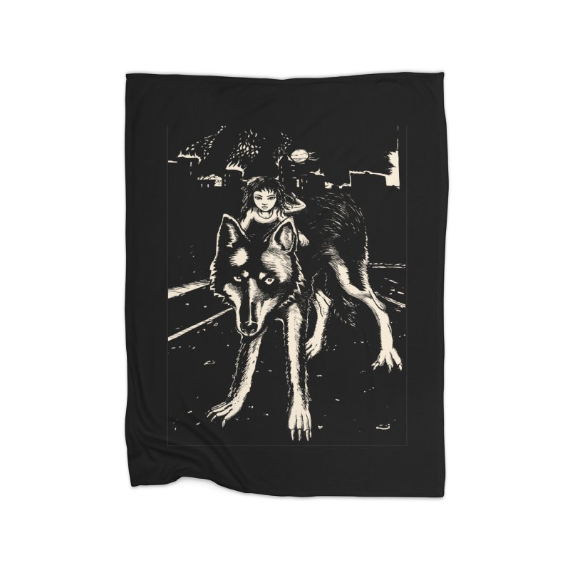 wolf rider Home Fleece Blanket Blanket by truthpup's Artist Shop