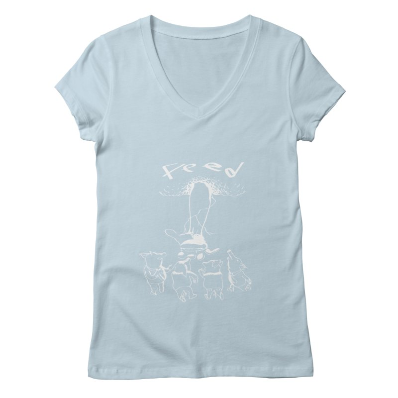 FEED Women's Regular V-Neck by truthpup's Artist Shop