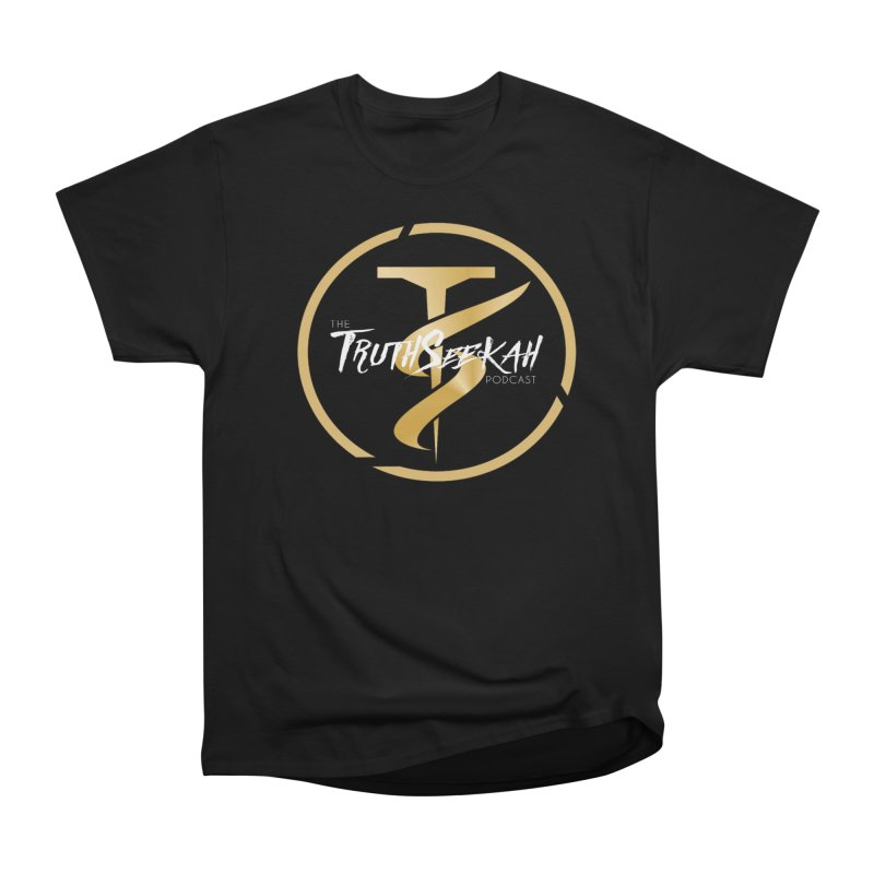 The TruthSeekah Podcast in Men's Heavyweight T-Shirt Black by TruthSeekah Clothing