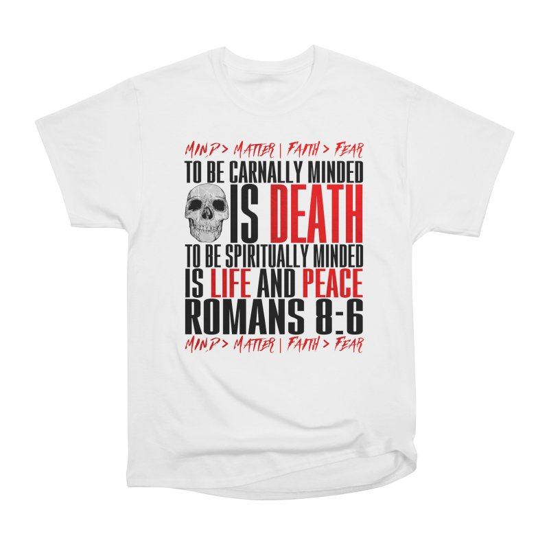 Spiritually Minded | Romans 8:6 (White) Men's T-Shirt by TruthSeekah Clothing