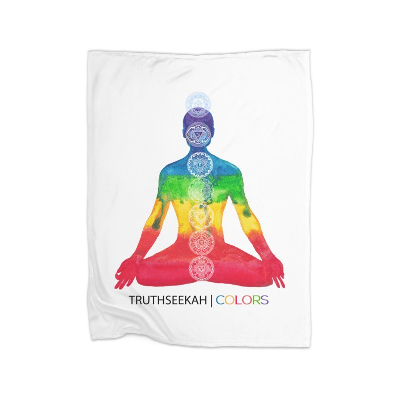 COLORS Chakra Tee Home Fleece Blanket Blanket by TruthSeekah Clothing