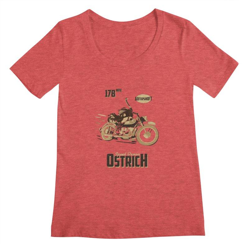 Speed Demon Ostrich Women's Scoopneck by Trybyk Art