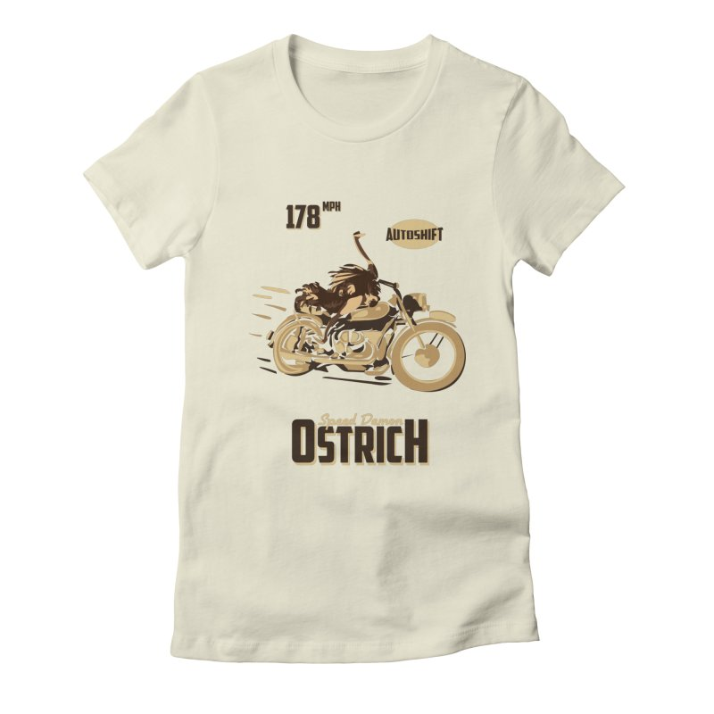 Speed Demon Ostrich Women's Fitted T-Shirt by Trybyk Art