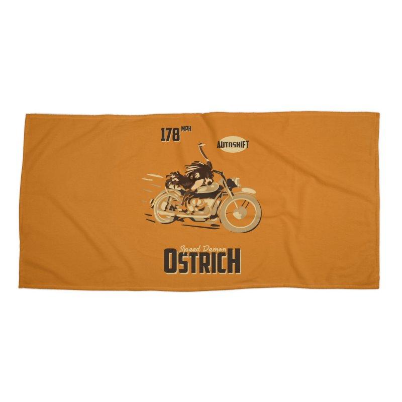 Speed Demon Ostrich Accessories Beach Towel by Trybyk Art