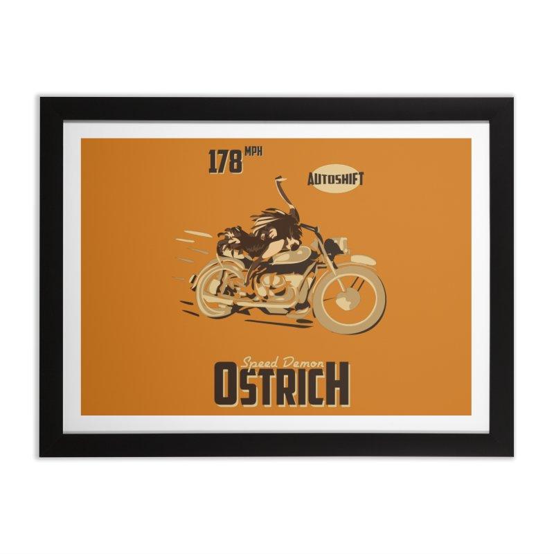 Speed Demon Ostrich Home Framed Fine Art Print by Trybyk Art