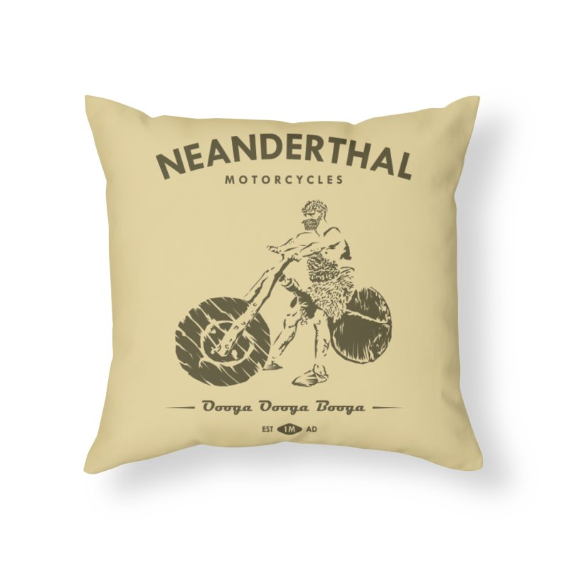 Neanderthal Motors Home Throw Pillow by Trybyk Art