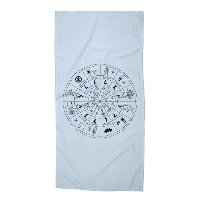 Nerd Zodiac - Black Accessories Beach Towel by Trybyk Art