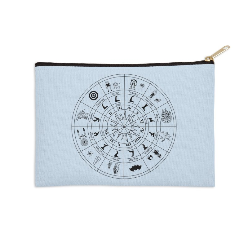 Nerd Zodiac - Black Accessories Zip Pouch by Trybyk Art