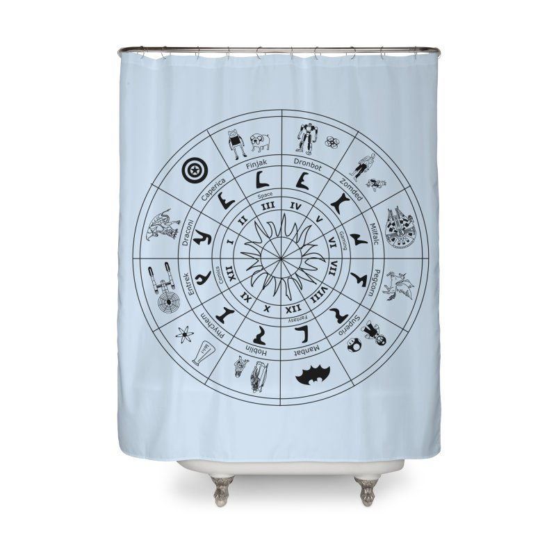 Nerd Zodiac - Black Home Shower Curtain by Trybyk Art