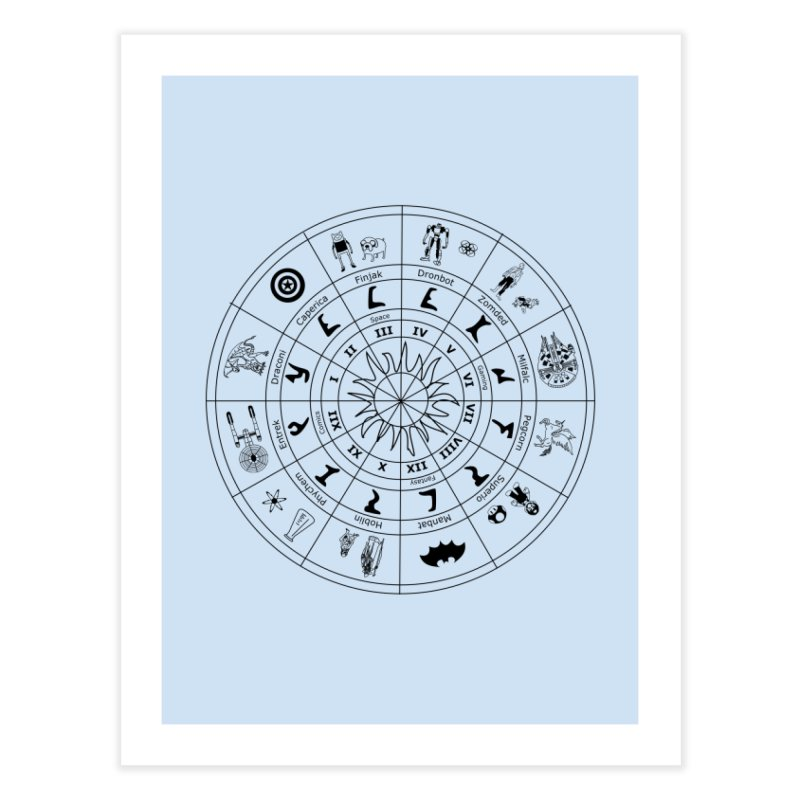 Nerd Zodiac - Black Home Fine Art Print by Trybyk Art