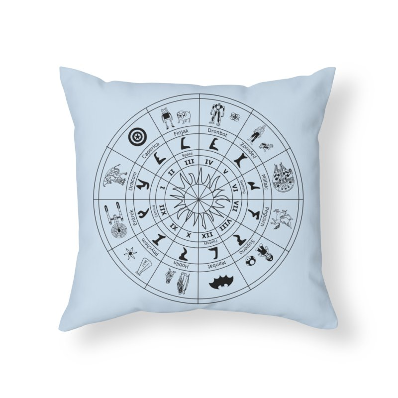 Nerd Zodiac - Black Home Throw Pillow by Trybyk Art