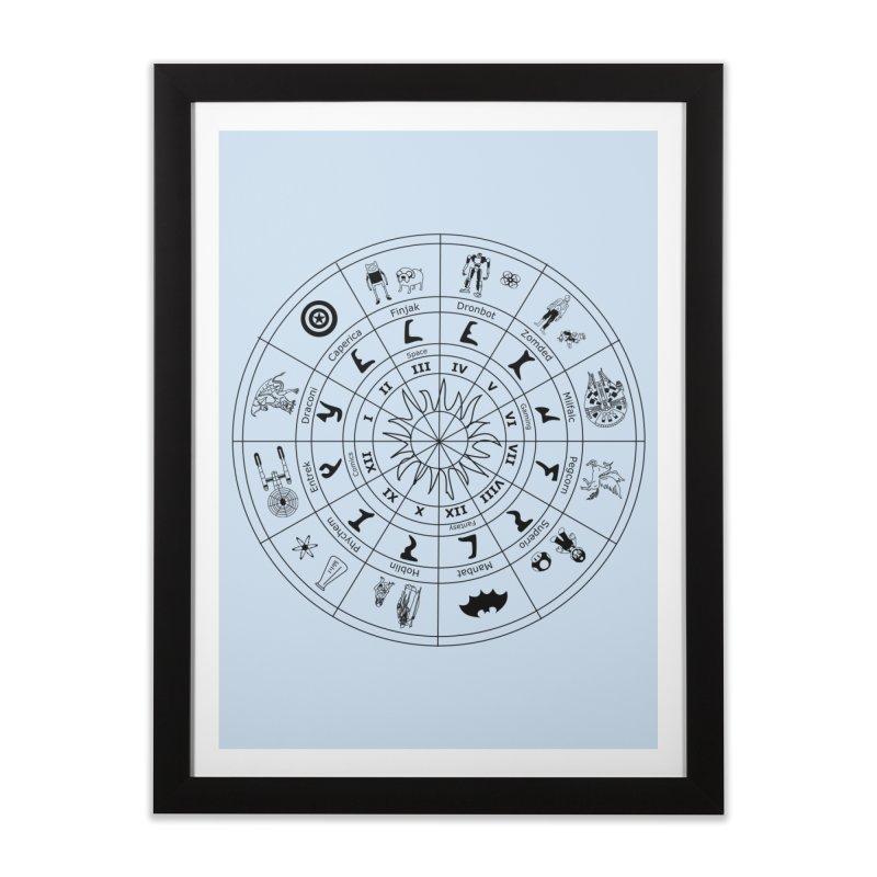 Nerd Zodiac - Black Home Framed Fine Art Print by Trybyk Art