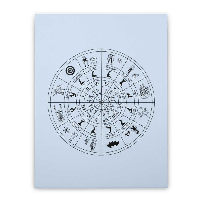 Nerd Zodiac - Black Home Stretched Canvas by Trybyk Art