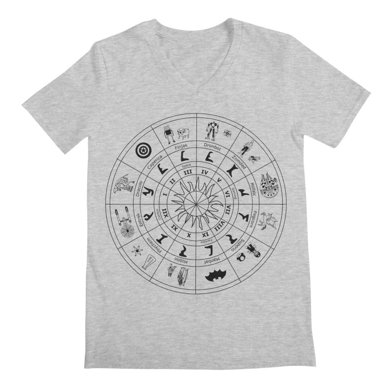 Nerd Zodiac - Black Men's V-Neck by Trybyk Art