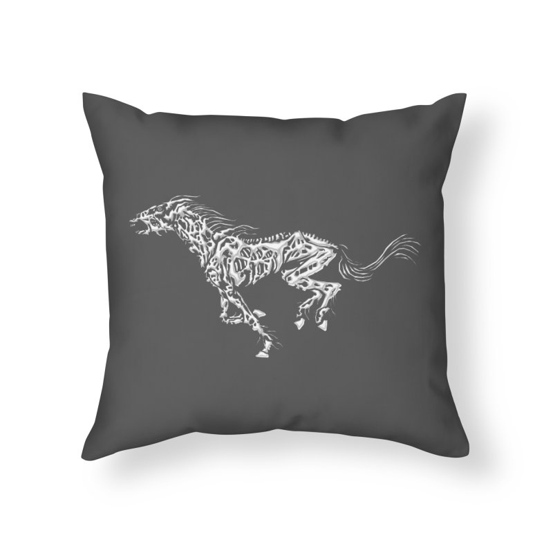 Death Horse Home Throw Pillow by Trybyk Art