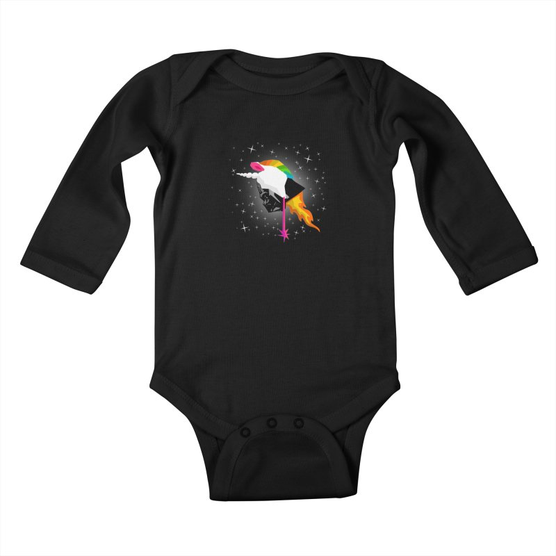 Flaming Vadercorn Kids Baby Longsleeve Bodysuit by Trybyk Art