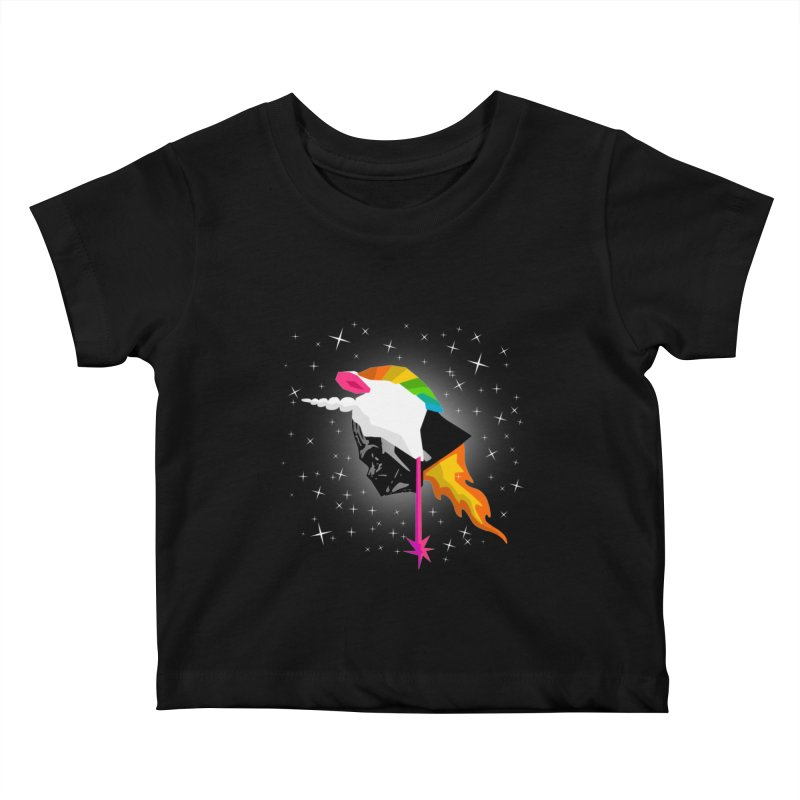 Flaming Vadercorn Kids Baby T-Shirt by Trybyk Art