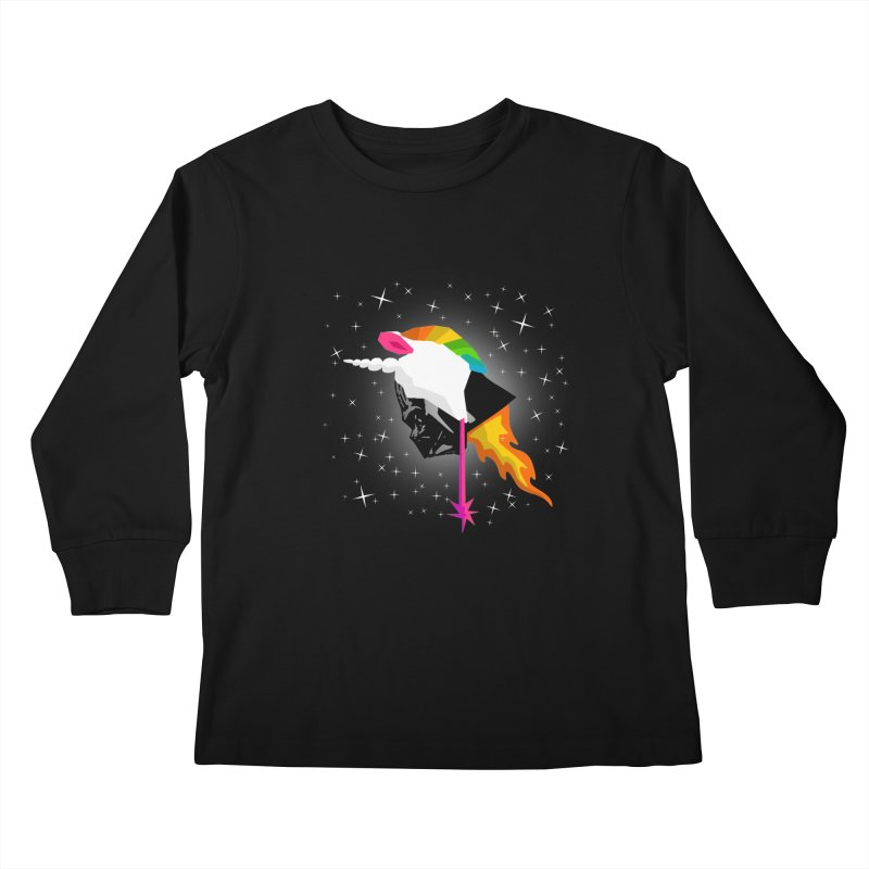 Flaming Vadercorn Kids Longsleeve T-Shirt by Trybyk Art