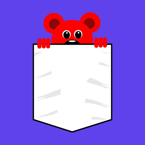 Design for POCKET WITH TEDDY BEAR POKING ITS HEAD