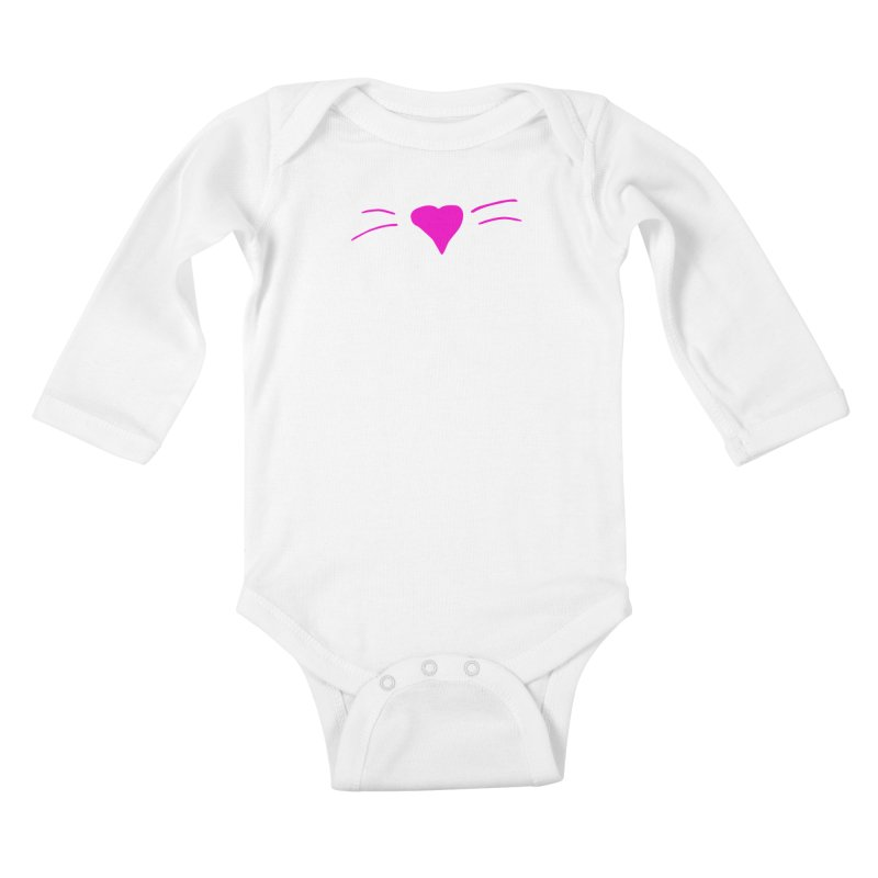 Kitty Heart - Pink Kids Baby Longsleeve Bodysuit by Tucker Makes Shirts