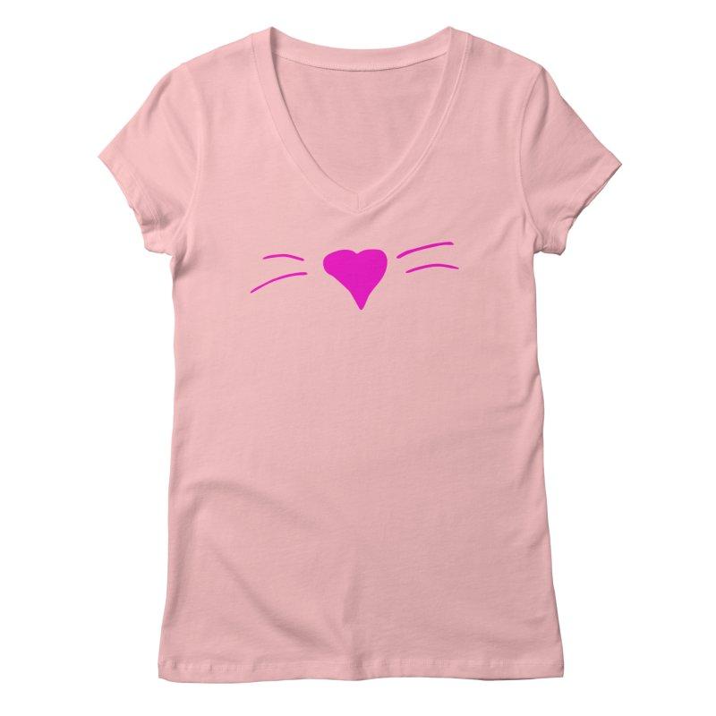 Kitty Heart - Pink Women's V-Neck by Tucker Makes Shirts