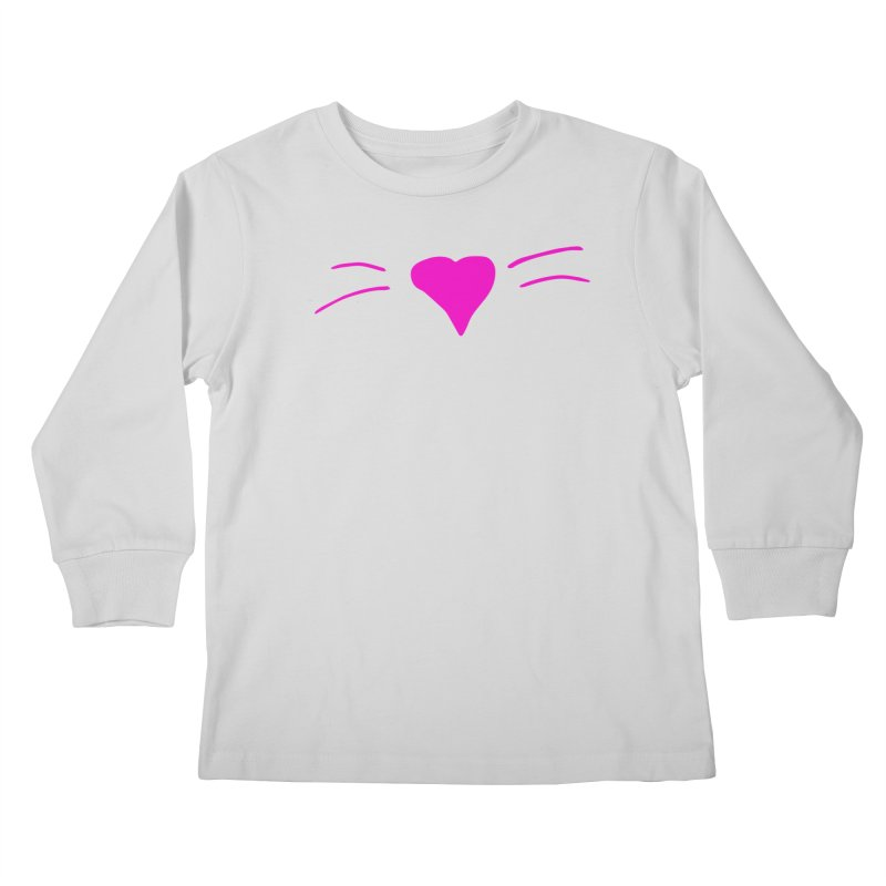 Kitty Heart - Pink Kids Longsleeve T-Shirt by Tucker Makes Shirts