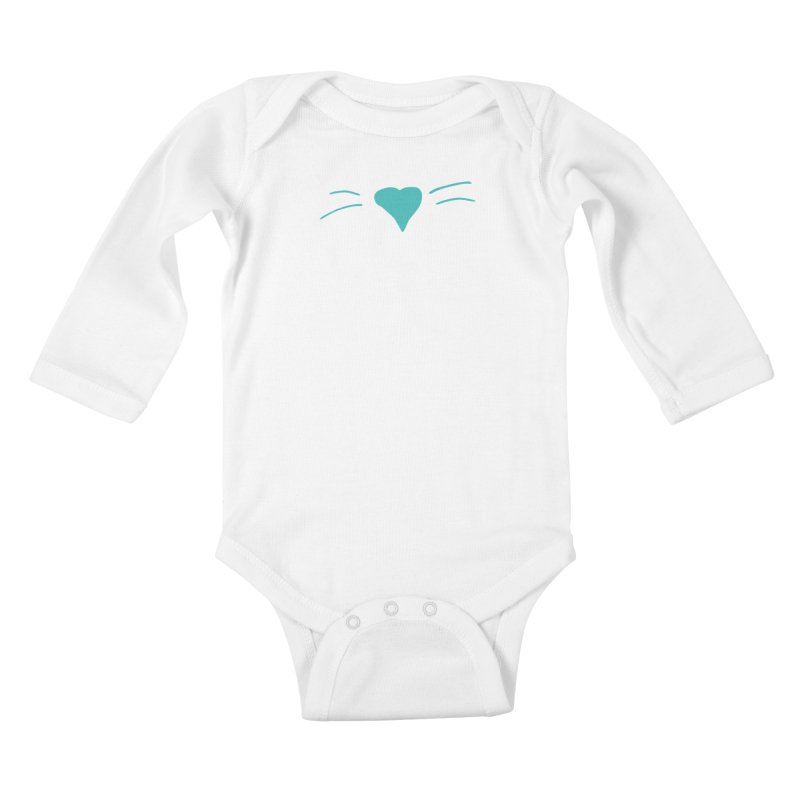 Kitty Heart - Teal Kids Baby Longsleeve Bodysuit by Tucker Makes Shirts