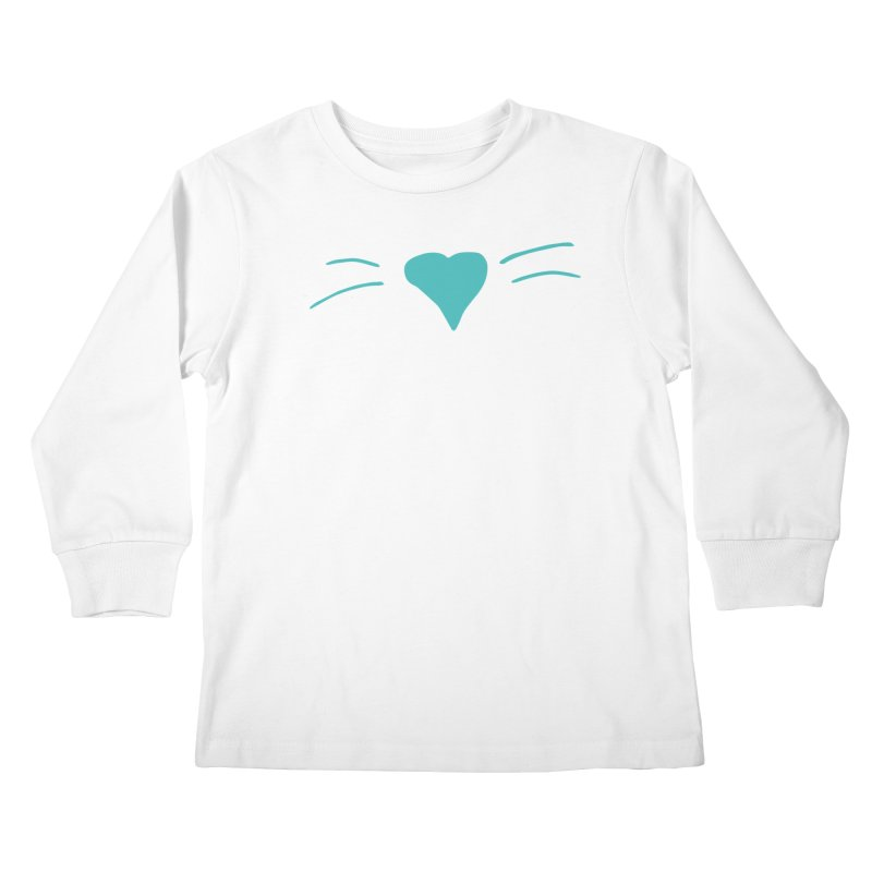 Kitty Heart - Teal Kids Longsleeve T-Shirt by Tucker Makes Shirts