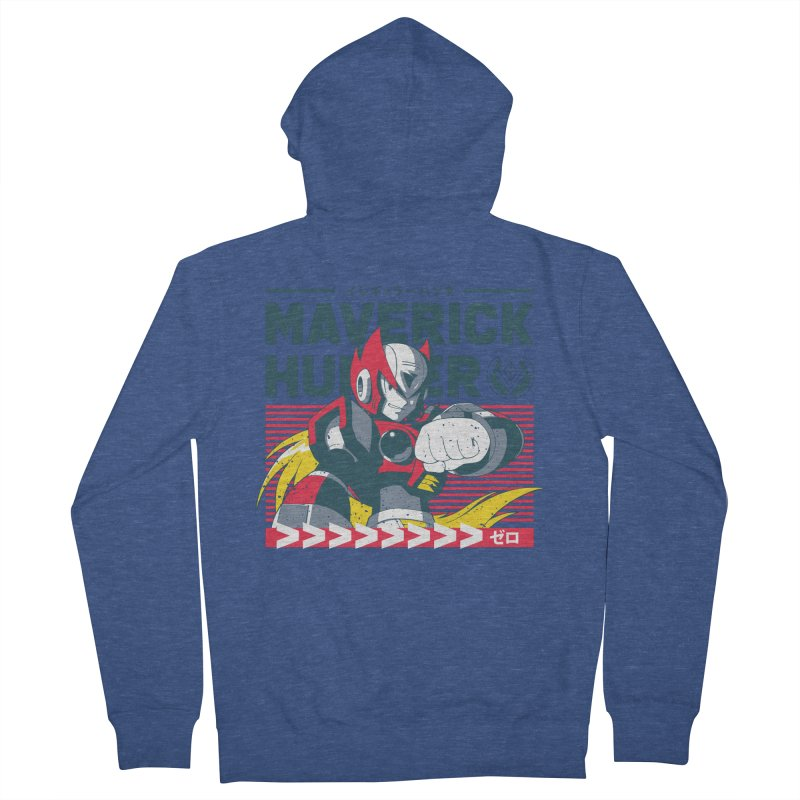 Mega Man X Zero Men's French Terry Zip-Up Hoody by tulleceria